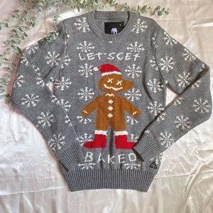 Let's Get Baked Christmas Sweater Gingerbread Man